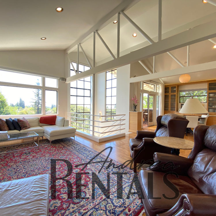 Striking contemporary home with fantastic gardens and city views, tucked away from the world in the exclusive Claremont Court neighborhood available **FURNISHED** for a 10-12 month lease
