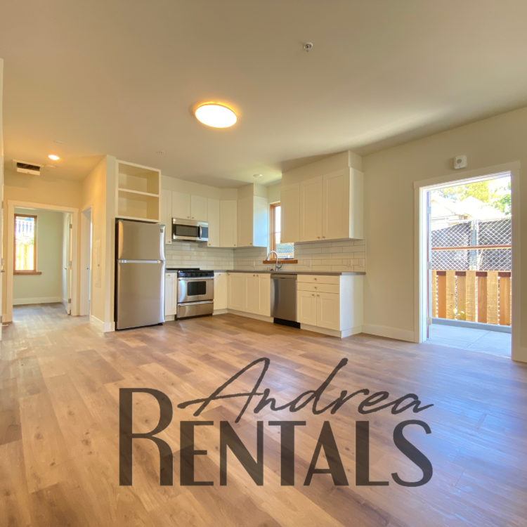 Open, bright 2br/1ba loft-style unit, all utilities included, with gated parking space available for August 15 lease start